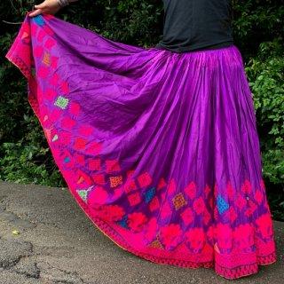 Kutch gypsy skirt #49 *vintage * カッチ刺繍スカート バンジャラ《パープル3》