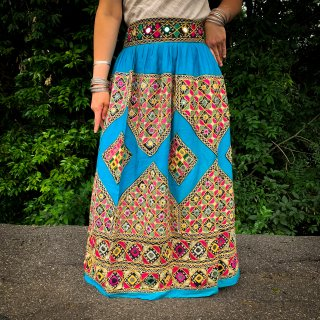 Kutch gypsy skirt #31 *vintage * カッチ刺繍スカート バンジャラ《ターコイズxミラー&刺繍》