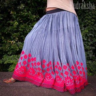 Kutch gypsy skirt #62 *vintage * カッチ刺繍スカート バンジャラ《グレー》