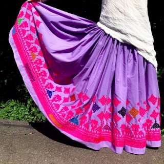 Kutch gypsy skirt #63 *vintage * カッチ刺繍スカート バンジャラ《ラベンダー》