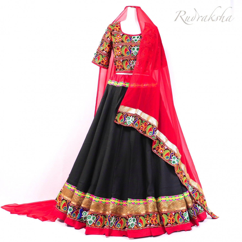 Rajasthani Lehenga <ブラックxレッド> ◇◆ インド民族衣装 ラジャスタンレヘンガ