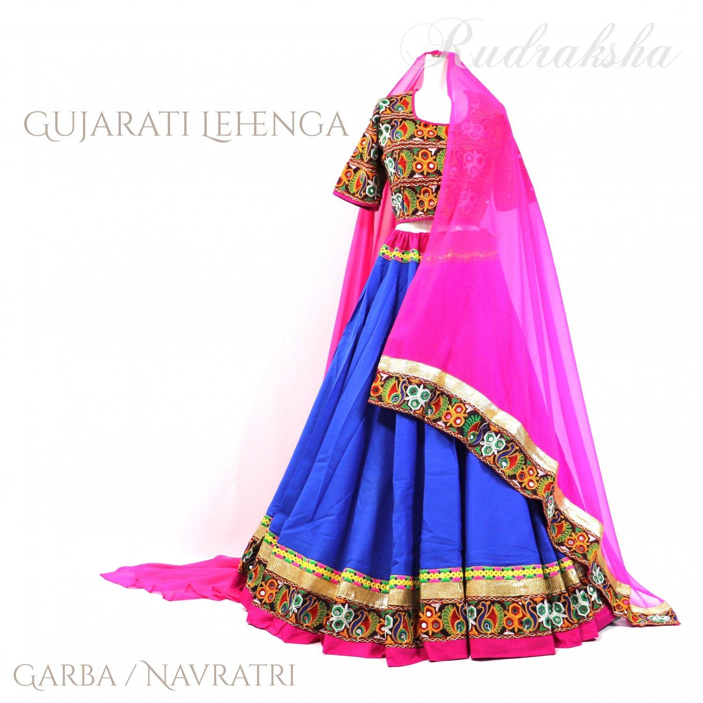 Gujarati Garba Lehenga <ロイヤルブルーxピンク> ◇◆ インド民族衣装 ラジャスタンレヘンガ・ナヴラトリ