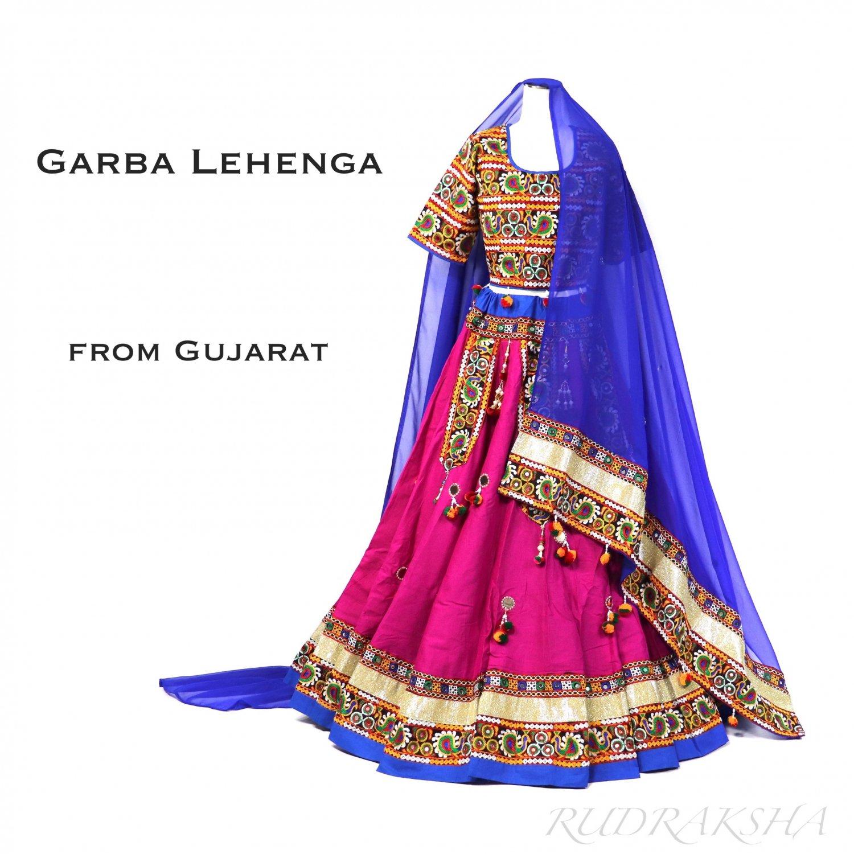 Gujarati Garba Lehenga <マゼンタxロイヤルブルー> ◇◆ インド民族衣装 ラジャスタンレヘンガ・ナヴラトリ