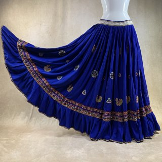 <img class='new_mark_img1' src='https://img.shop-pro.jp/img/new/icons61.gif' style='border:none;display:inline;margin:0px;padding:0px;width:auto;' />Rabari Gypsy skirt #81 *vintage* ラバリ族 刺繍スカート ≪ROYAL BLUE≫