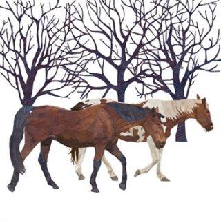 ペーパーナプキン(33)ppd:(5枚)Winter Horses-PP135
