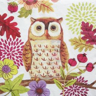 ペーパーナプキン(33)ppd:(5枚)Autumn Owl ホワイト-PP142