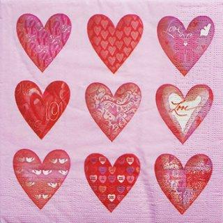 ペーパーナプキン(33)ppd:(5枚)Hearts-PP143