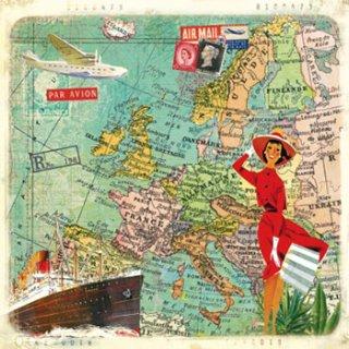 ペーパーナプキン(33)ppd:(5枚)Travel to Europe-PP149