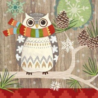 ペーパーナプキン(33)ppd:(5枚)Owl with Scarf-PP213