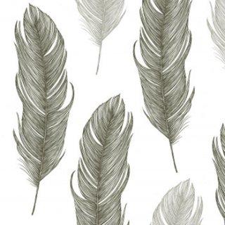 ペーパーナプキン(33)ppd:(5枚)Elegant Feather black-PP218
