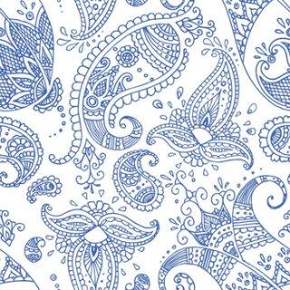 ペーパーナプキン(33)ppd:(5枚)Paisley white indigo-PP253