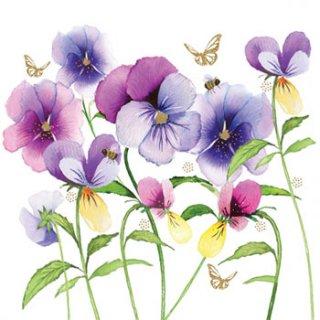 ペーパーナプキン(33)ppd:(5枚)Violet Pansies-PP264