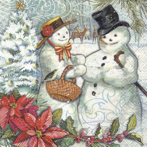 ペーパーナプキン(25)PS:(5枚)Snow Couple 53634-PS18(25)