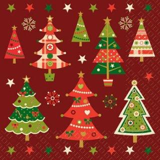 ペーパーナプキン(33)StewoAG:(5枚)クリスマスツリー(エンジ)-ST34