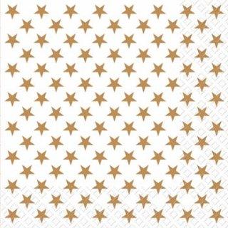 ペーパーナプキン(33)StewoAG:(5枚)ホワイトゴールドスター-ST38