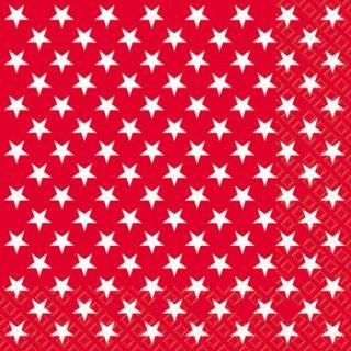ペーパーナプキン(33)StewoAG:(5枚)レッドホワイトスター-ST39