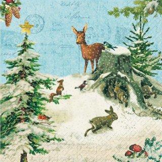 ペーパーナプキン(33)StewoAG:(5枚)冬の動物-ST42