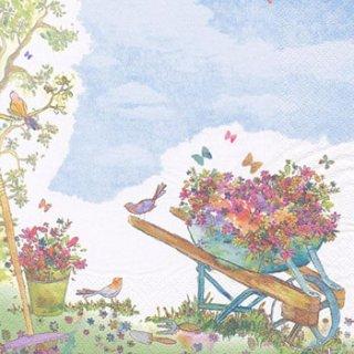 ペーパーナプキン(33)ti-flair:(5枚)Wheelbarrow filled with Flowers-TI93