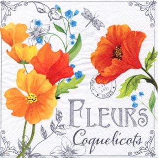 ペーパーナプキン(33)ti-flair:(5枚)Fleurs de Coquelicots オレンジ-TI95