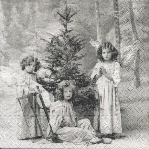 ペーパーナプキン(25)Sagen:(5枚)【25cmサイズ】クリスマスの天使-1