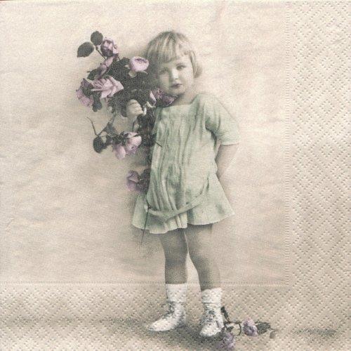 ペーパーナプキン(33)Sagen:(5枚)【s-36】女の子と花
