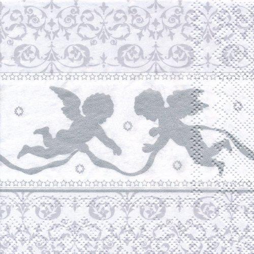 ペーパーナプキン(25)AMB:(5枚)二人の天使(シルバー)-AM2(25)