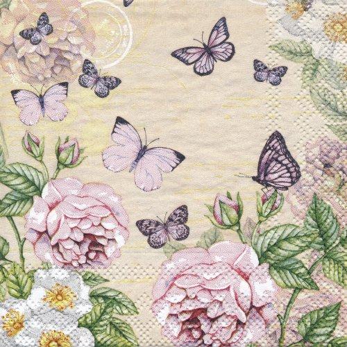 ペーパーナプキン(25)AMB:(5枚)Botanical Cream-AM35(25)