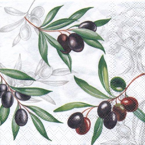 ペーパーナプキン(25)AMB:(5枚)Olives-AM49(25)
