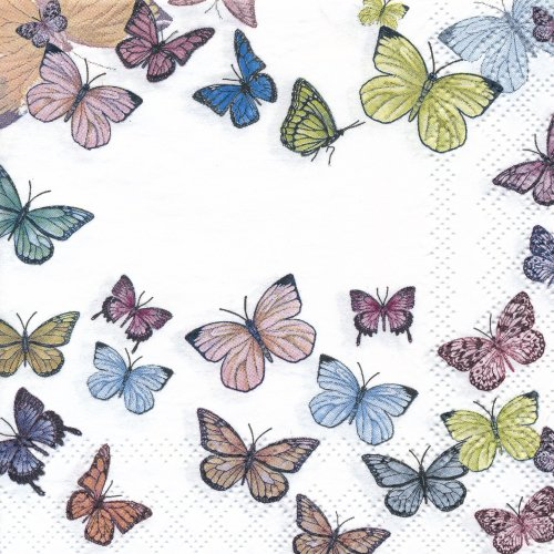 ペーパーナプキン(25)AMB:(5枚)Butterfly White-AM57(25)