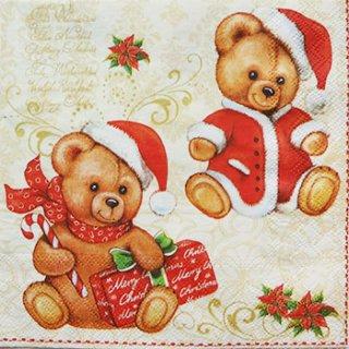 ペーパーナプキン(33)AMB:(5枚)クリスマスベア-AM78