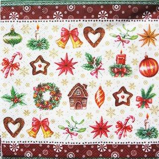 ペーパーナプキン(33)AMB:(5枚)クリスマスパーツ(レッド)33304190-AM80