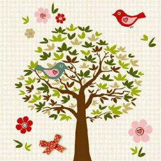 ペーパーナプキン(33)AMB:(5枚)BIRD TREE BEIGE-AM185
