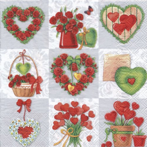 ペーパーナプキン(33)AMB:(5枚)Loving Hearts-AM342