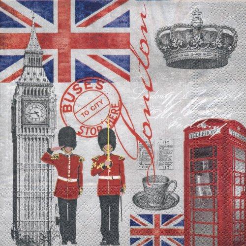 ペーパーナプキン(33)AMB:(5枚)London Time-AM346