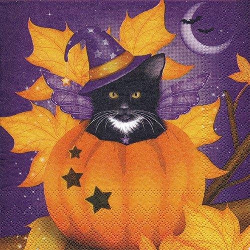 ペーパーナプキン(33)AMB:(5枚)Halloween Cat-AM381