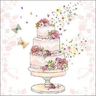 ペーパーナプキン(33)AMB:(5枚) Flowered Wedding Cake-AM498