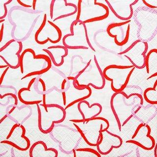 ペーパーナプキン(33)caspari:(5枚)Los of heart(レッド)-CA34