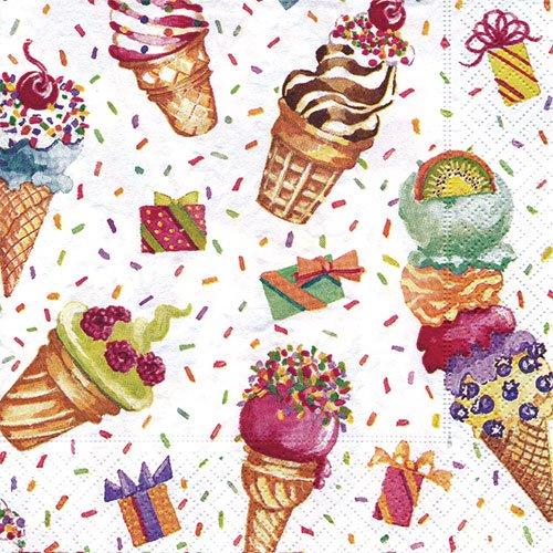 ペーパーナプキン(33)caspari:(5枚)アイスクリーム-CA42