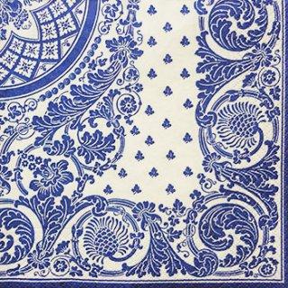 ペーパーナプキン(33)caspari:(5枚)Jacquard(ホワイトブルー)-CA56