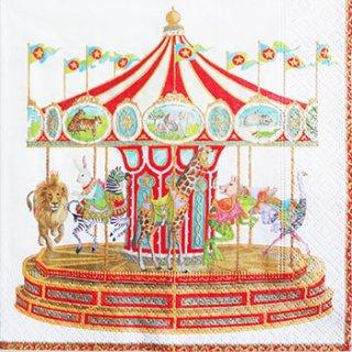 ペーパーナプキン(33)caspari:(5枚)Carousel-CA86