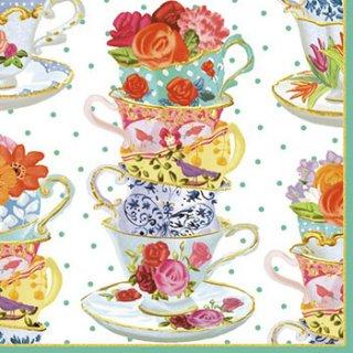 ペーパーナプキン(33)caspari:(5枚)Tea Cups-CA97