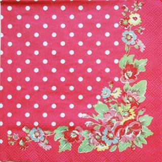 Cath Kidston ランチサイズ33(5枚) FOLK FLOWERS(レッド)-CK7