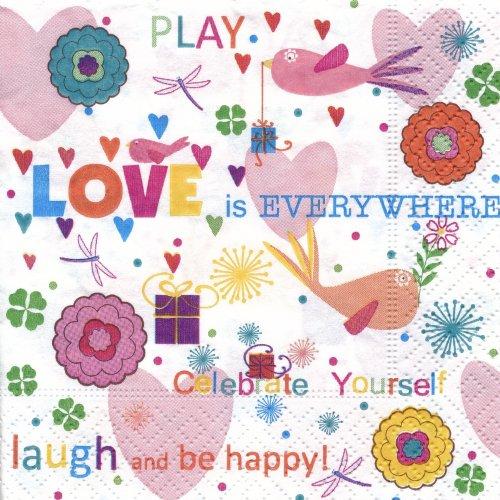 ペーパーナプキン(25)colorful:(5枚)love and happiness-25CO2