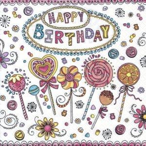 ペーパーナプキン(33)Daisy:(5枚)Happy Birthday Lollipops-DA52
