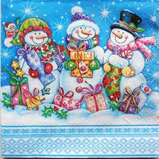 ペーパーナプキン(33)Daisy:(5枚)Snowmen with Presents-DA83