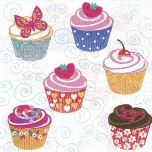 ペーパーナプキン(33)Daisy:(5枚)Set of Cupcakes-DA91