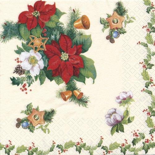 ペーパーナプキン(33)home:(5枚)Poinsettia nand Ilex-HO202