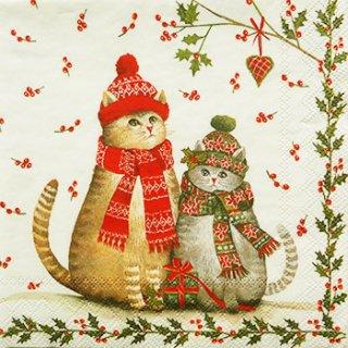 ペーパーナプキン(25)IHR:(5枚)CHRISTMAS CATS-IH75(25)