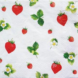ペーパーナプキン(33)IHR:(5枚)Sweet Strawberries(ホワイト)-IH76