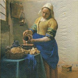 ペーパーナプキン(33)IHR:(5枚)フェルメール「牛乳を注ぐ女」-IH89
